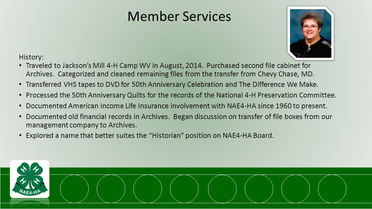 Member Services History: Traveled to Jackson's Mill 4-H Camp WV in August, 2014.
