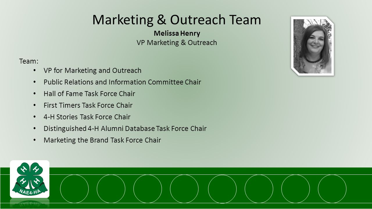 Marketing & Outreach Team Melissa Henry VP Marketing & Outreach Team: VP for Marketing and Outreach Public Relations and Information Committee Chair Hall of Fame Task Force Chair First Timers Task Force Chair 4-H Stories Task Force Chair Distinguished 4-H Alumni Database Task Force Chair Marketing the Brand Task Force Chair