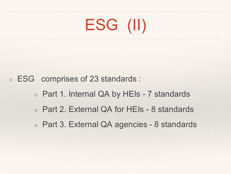 ESG (II) ❖ ESG comprises of 23 standards : ❖ Part 1.