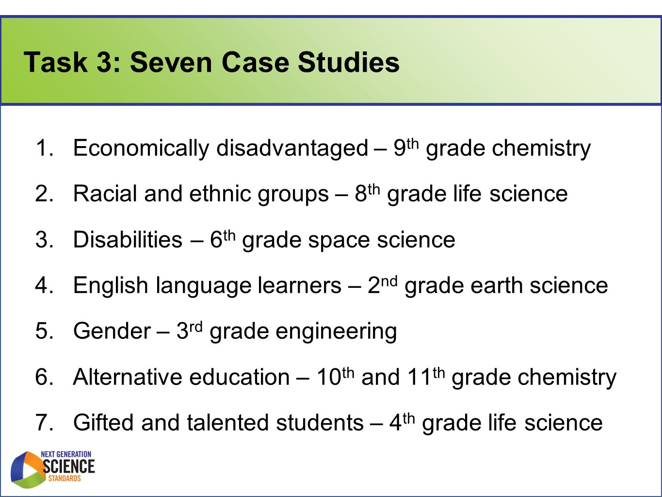 Task 3: Seven Case Studies 1.Economically disadvantaged – 9 th grade chemistry 2.Racial and ethnic groups – 8 th grade life science 3.Disabilities – 6 th grade space science 4.English language learners – 2 nd grade earth science 5.Gender – 3 rd grade engineering 6.Alternative education – 10 th and 11 th grade chemistry 7.Gifted and talented students – 4 th grade life science