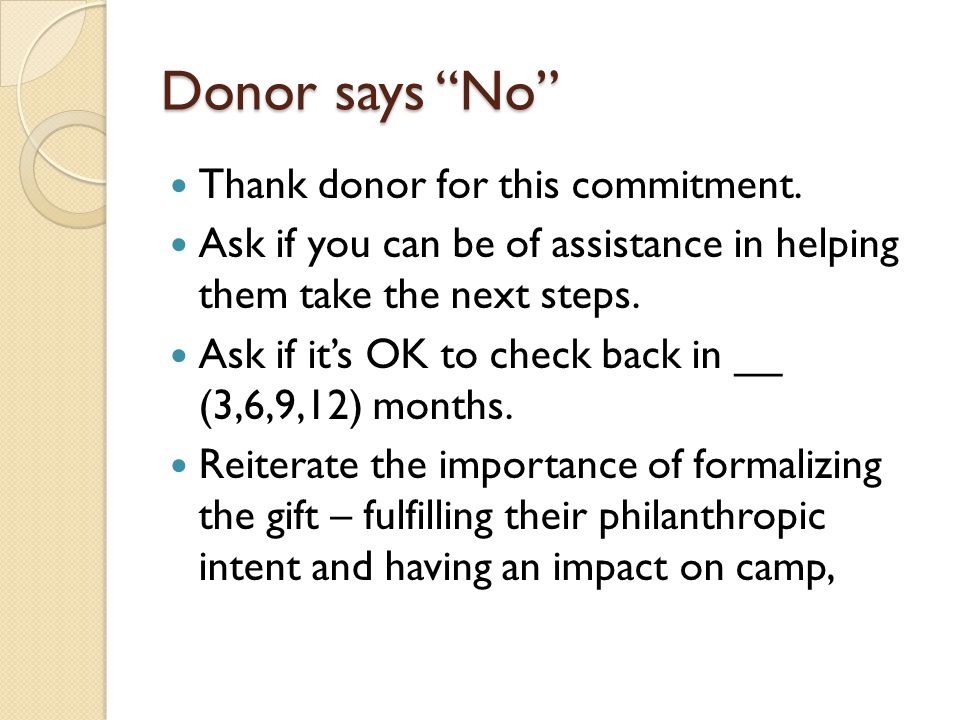 Donor says No Thank donor for this commitment.