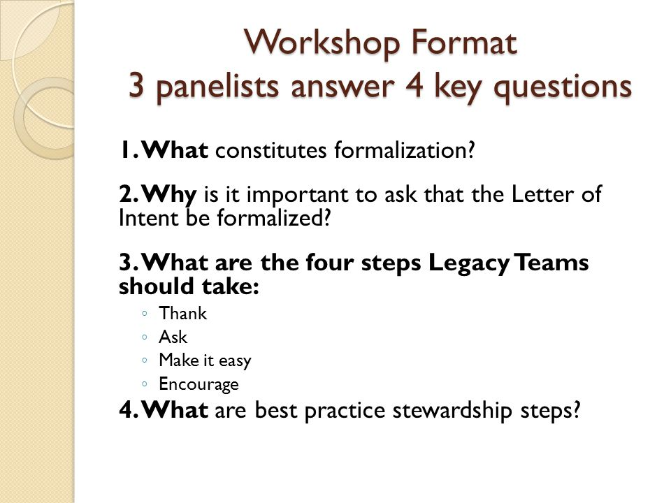 Workshop Format 3 panelists answer 4 key questions 1.