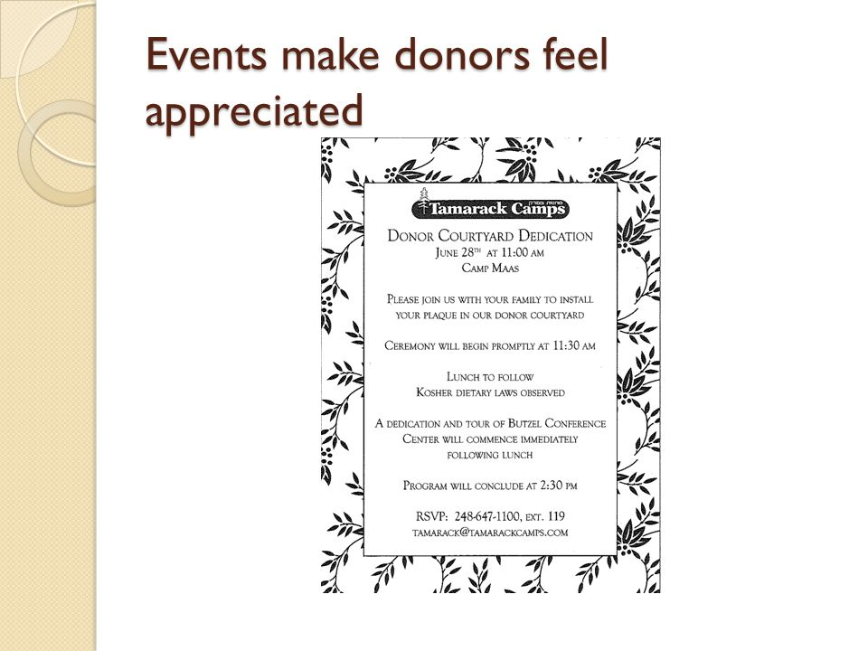 Events make donors feel appreciated