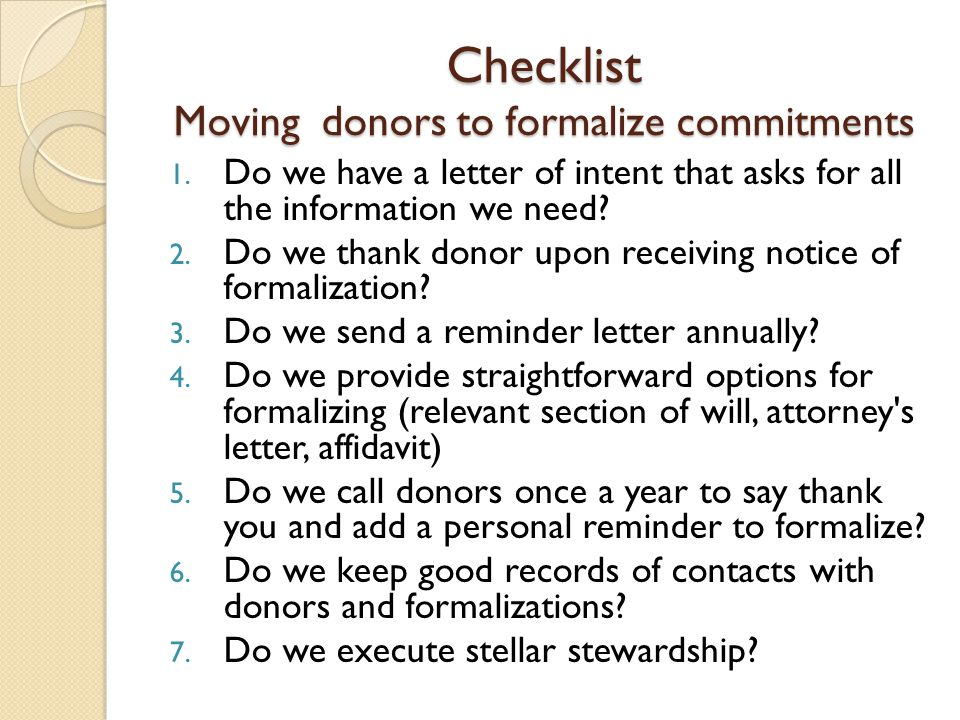 Checklist Moving donors to formalize commitments 1.