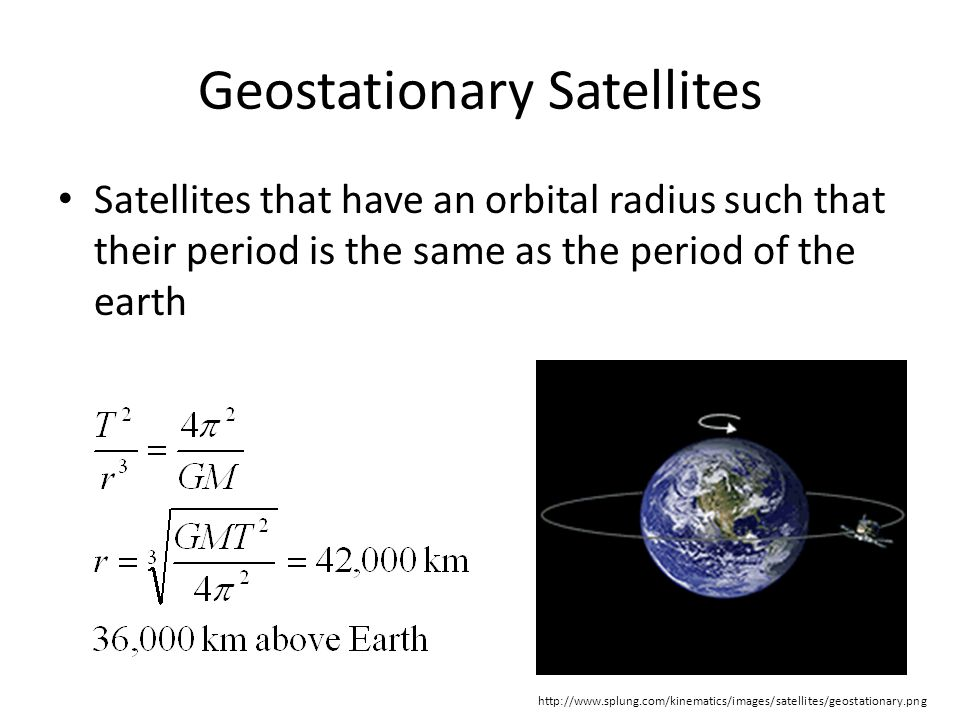 Geostationary Satellites Satellites that have an orbital radius such that their period is the same as the period of the earth http://www.splung.com/kinematics/images/satellites/geostationary.png