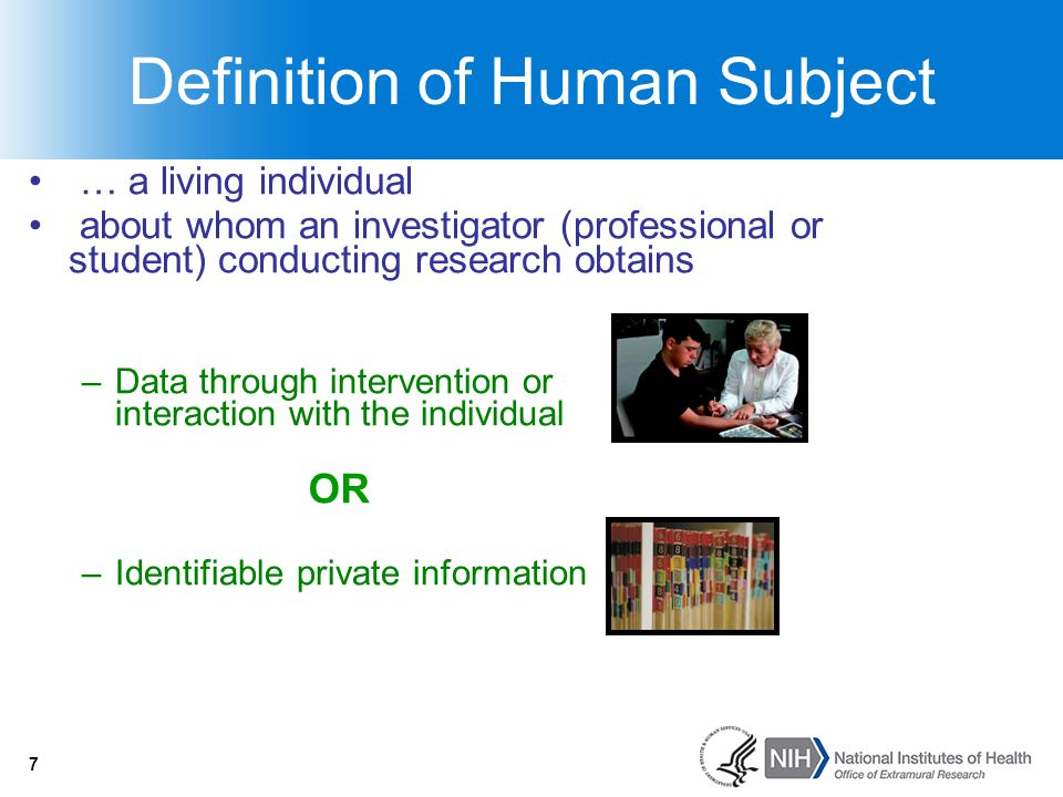 18 Research Involving Coded Data/Specimens OHRP Policy Guidance 2008: http://www.hhs.gov/ohrp/policy/cdebiol.html http://www.hhs.gov/ohrp/policy/cdebiol.html Research involving only use of coded data/spec from living individuals is NOT human subjects research IF –Info/spec not collected for proposed research AND –Investigator(s) cannot readily ascertain identity of subjects Provider will not to share ID w/ investigator Written policies prohibiting release of ID (repositories) Clarified that most research with existing data/specimens –Not HS research (no one has ID's) OR –Non-exempt (investigator has ID's) 18
