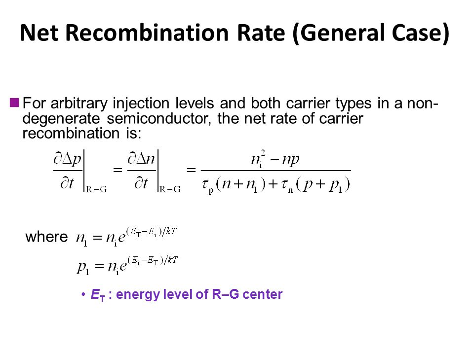 Net Recombination Rate (General Case) E T : energy level of R–G center Chapter 3 For arbitrary injection levels and both carrier types in a non- degen