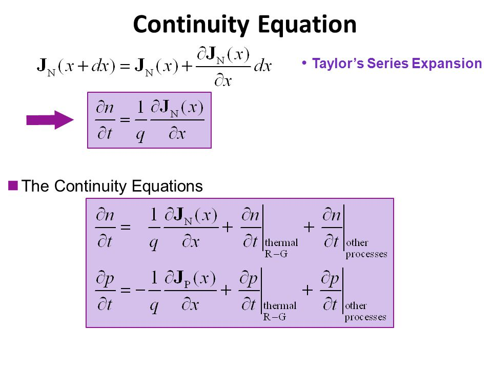 Taylor's Series Expansion The Continuity Equations Continuity Equation