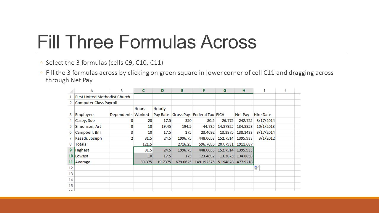 Fill Three Formulas Across ◦Select the 3 formulas (cells C9, C10, C11) ◦Fill the 3 formulas across by clicking on green square in lower corner of cell C11 and dragging across through Net Pay