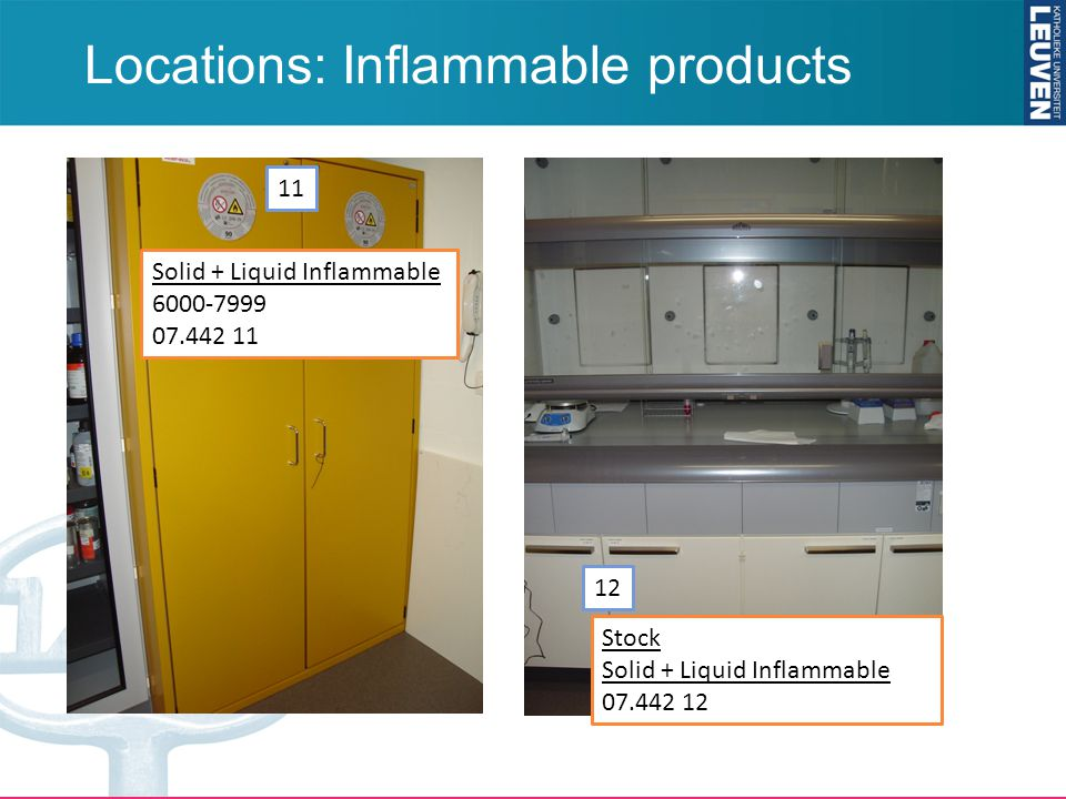 Locations: Inflammable products 11 12 Solid + Liquid Inflammable 6000-7999 07.442 11 Stock Solid + Liquid Inflammable 07.442 12