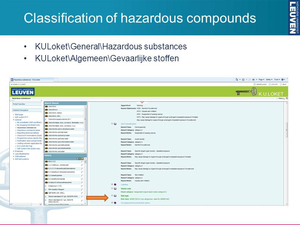 Classification of hazardous compounds KULoket\General\Hazardous substances KULoket\Algemeen\Gevaarlijke stoffen