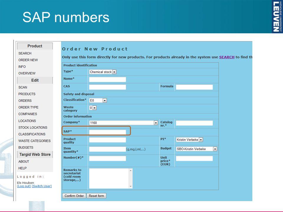 SAP numbers
