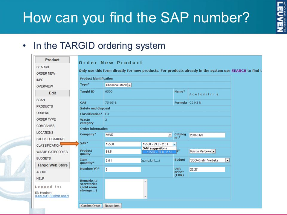 How can you find the SAP number? In the TARGID ordering system