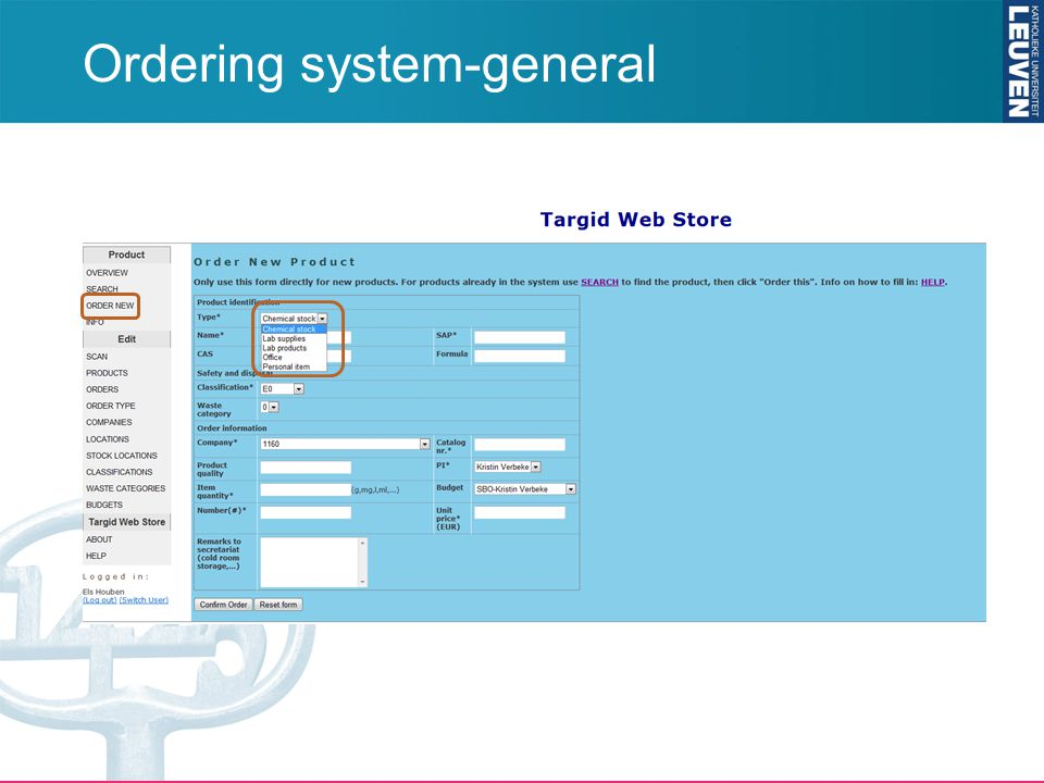 Ordering system-general