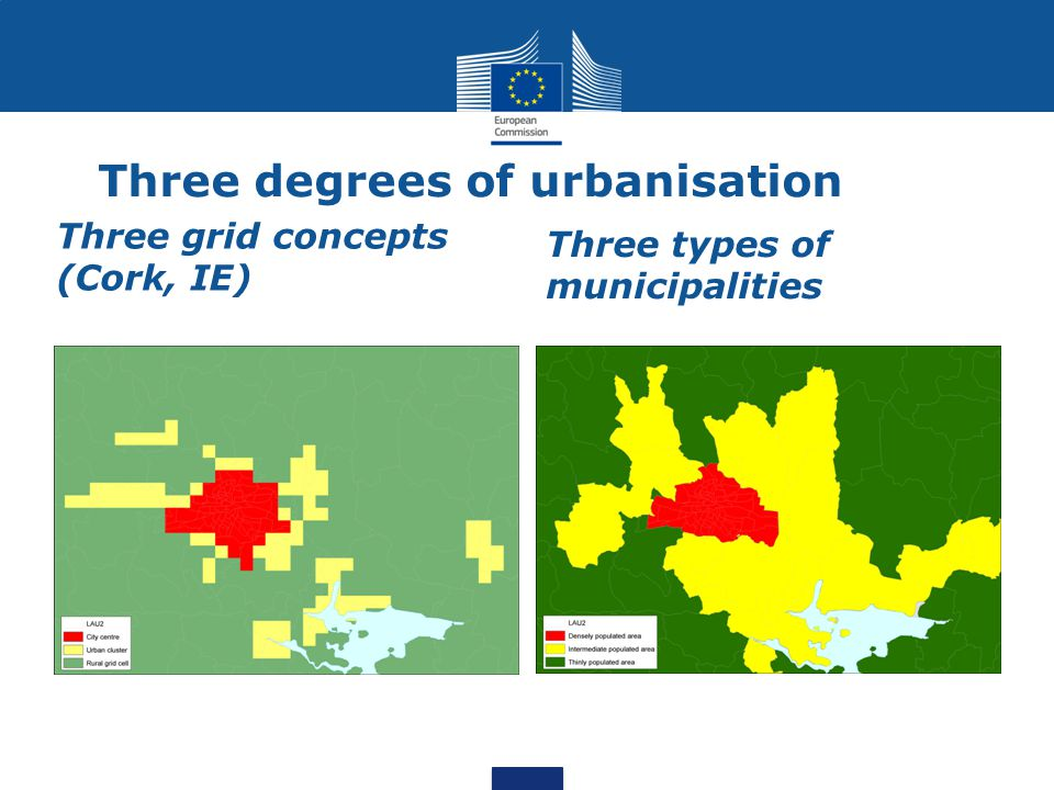 Three degrees of urbanisation Three grid concepts (Cork, IE) Three types of municipalities