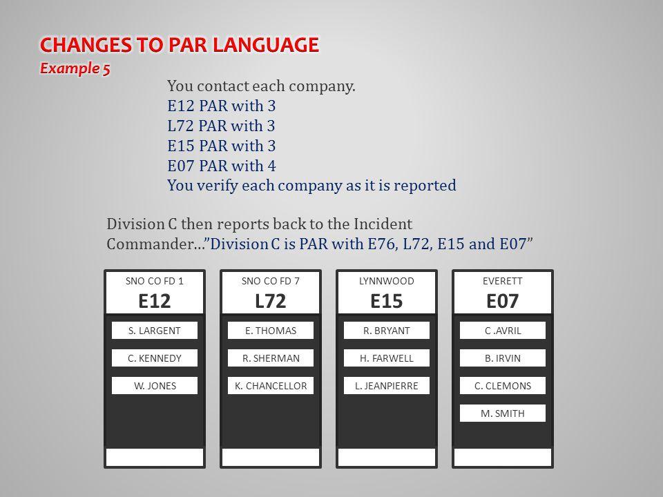 You contact each company. E12 PAR with 3 L72 PAR with 3 E15 PAR with 3 E07 PAR with 4 You verify each company as it is reported SNO CO FD 7 L72 E. THO