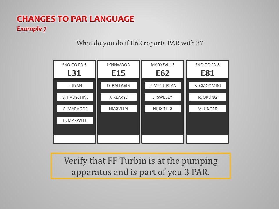 What do you do if E62 reports PAR with 3? SNO CO FD 3 L31 MARYSVILLE E62 J. RYAN S. HAUSCHKA C. MARAGOS B. MAXWELL P. McQUISTAN J. SWEEZY R. TURBIN SN