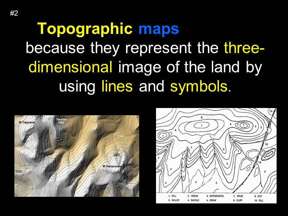 Topographic maps are useful because they represent the three- dimensional image of the land by using lines and symbols.