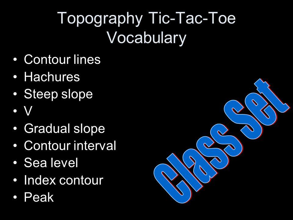 Topography Tic-Tac-Toe Vocabulary Contour lines Hachures Steep slope V Gradual slope Contour interval Sea level Index contour Peak