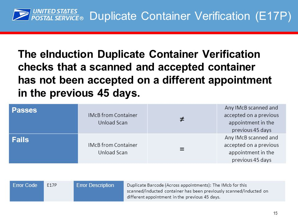 ® 15 Duplicate Container Verification (E17P) The eInduction Duplicate Container Verification checks that a scanned and accepted container has not been accepted on a different appointment in the previous 45 days.