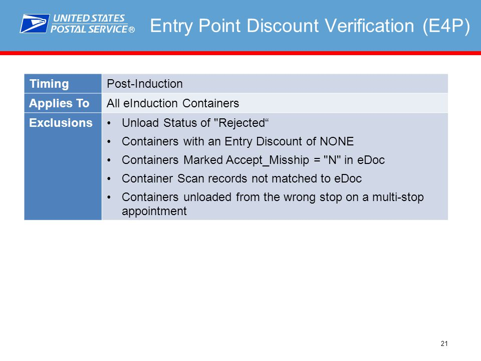 ® 21 Entry Point Discount Verification (E4P) TimingPost-Induction Applies ToAll eInduction Containers ExclusionsUnload Status of Rejected Containers with an Entry Discount of NONE Containers Marked Accept_Misship = N in eDoc Container Scan records not matched to eDoc Containers unloaded from the wrong stop on a multi-stop appointment
