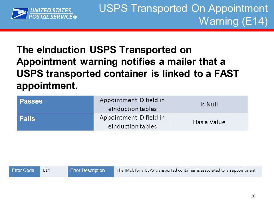 ® 26 USPS Transported On Appointment Warning (E14) The eInduction USPS Transported on Appointment warning notifies a mailer that a USPS transported container is linked to a FAST appointment.