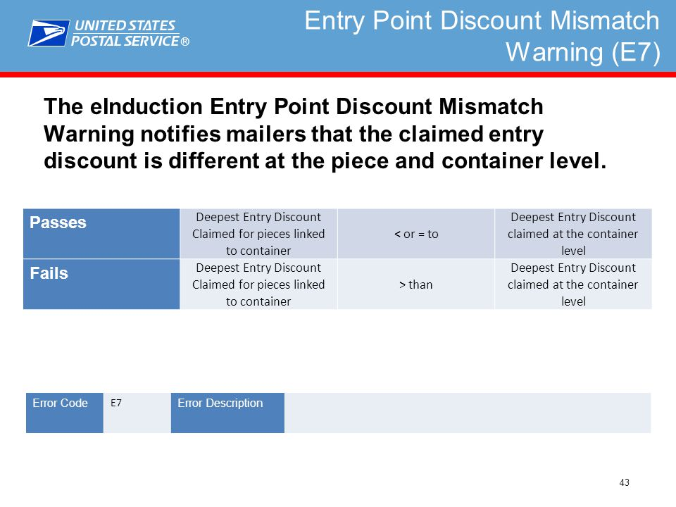 ® 43 Entry Point Discount Mismatch Warning (E7) The eInduction Entry Point Discount Mismatch Warning notifies mailers that the claimed entry discount is different at the piece and container level.