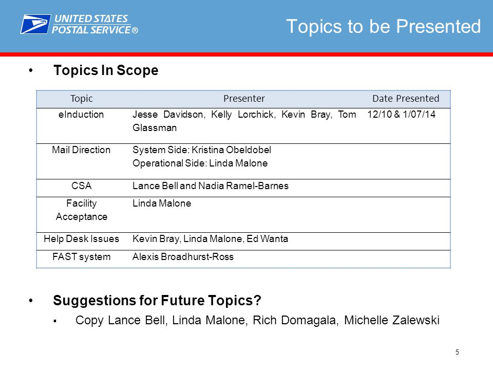 ® 5 Topics to be Presented Topics In Scope Suggestions for Future Topics.