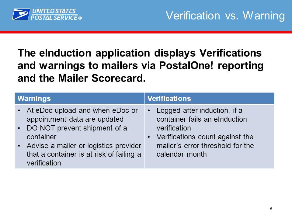 ® 9 Verification vs.