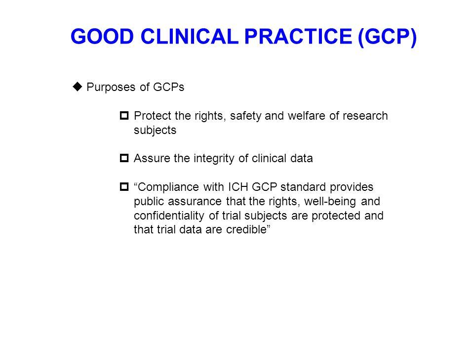 GOOD CLINICAL PRACTICE (GCP)  What constitutes GCPs.
