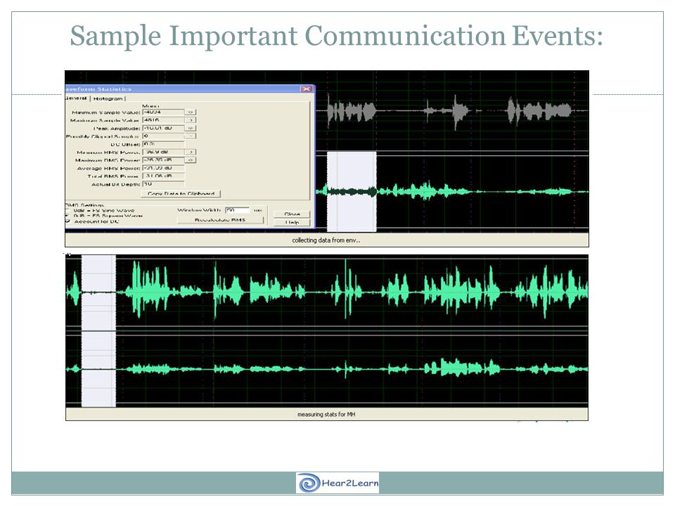Sample Important Communication Events: