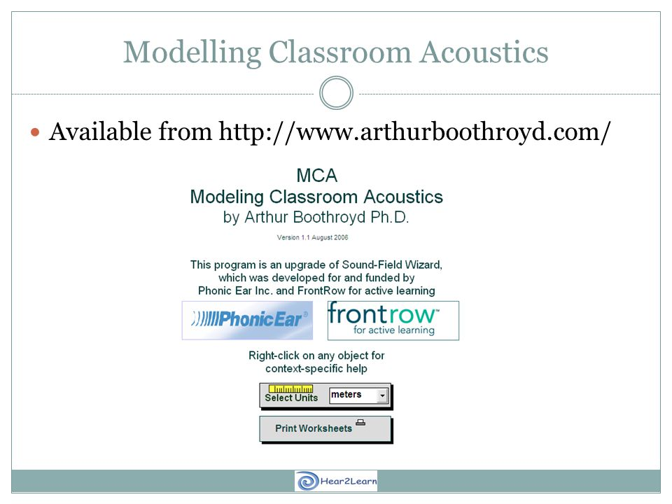 Modelling Classroom Acoustics Available from http://www.arthurboothroyd.com/