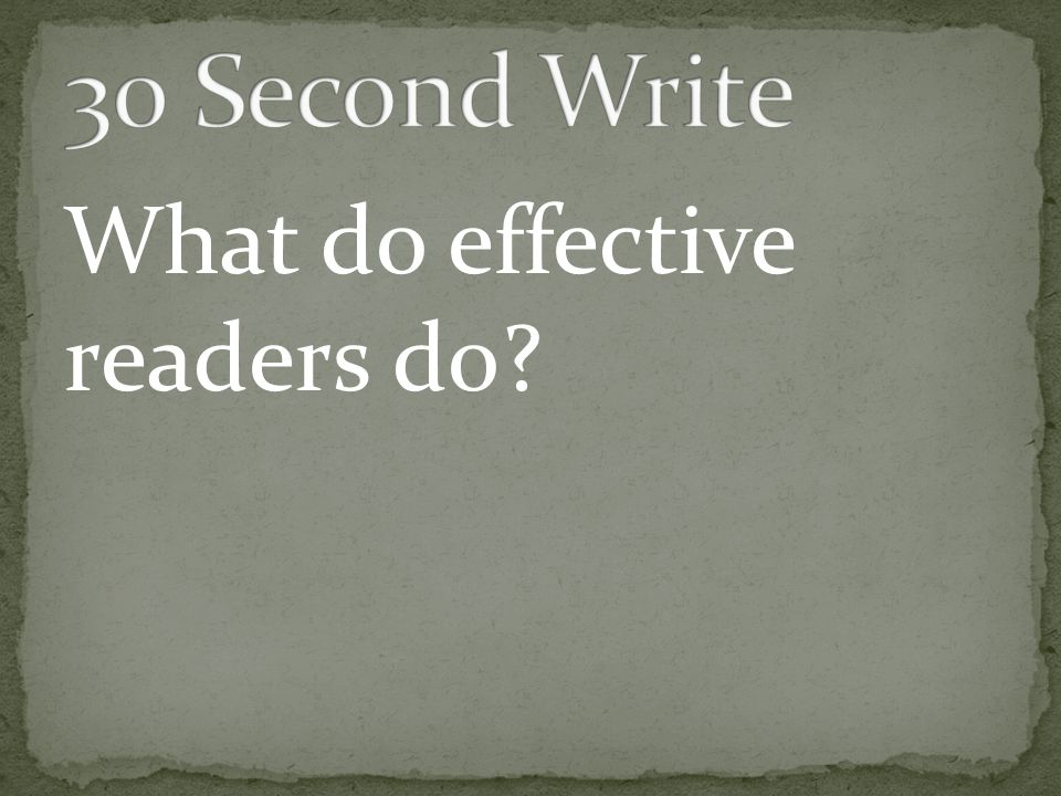 What do effective readers do