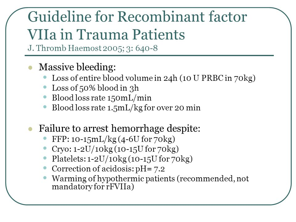 Recombinant factor VIIa Current evidence indicates that factor VIIa (recombinant) reduces RBC requirements in patients with blunt traumatic hemorrhage.