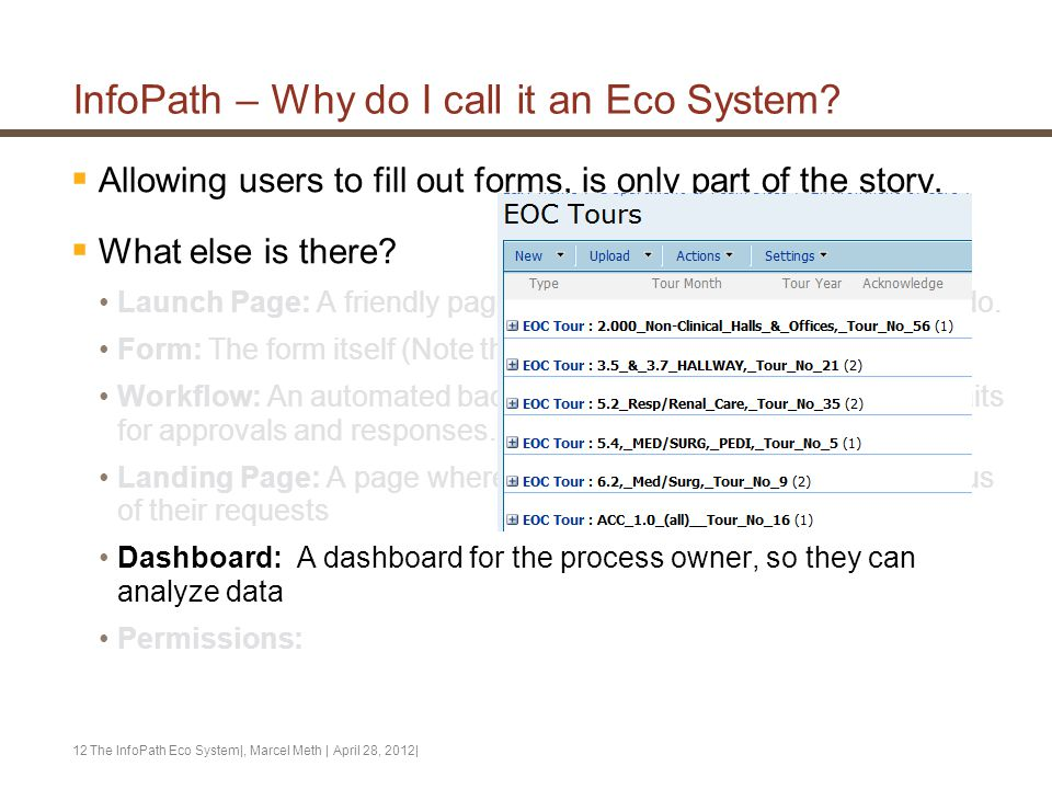 InfoPath – Why do I call it an Eco System?  Allowing users to fill out forms, is only part of the story.  What else is there? Launch Page: A friendl
