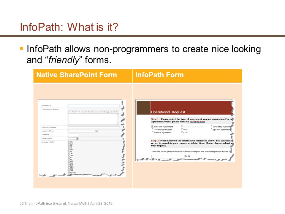 """InfoPath: What is it?  InfoPath allows non-programmers to create nice looking and """"friendly"""" forms. The InfoPath Eco System