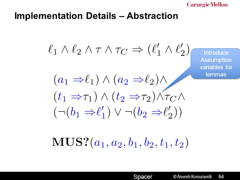 © Anvesh Komuravelli Spacer Implementation Details – Abstraction 54 Introduce Assumption variables for lemmas