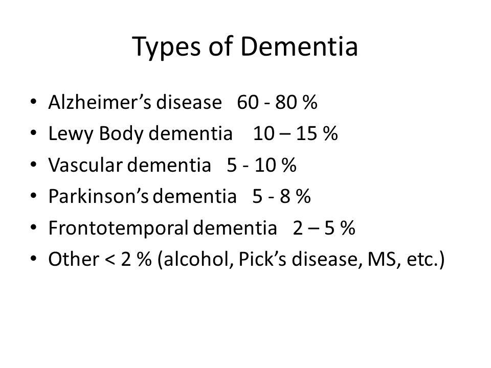 Types of Dementia Alzheimer's disease 60 - 80 % Lewy Body dementia 10 – 15 % Vascular dementia 5 - 10 % Parkinson's dementia 5 - 8 % Frontotemporal de
