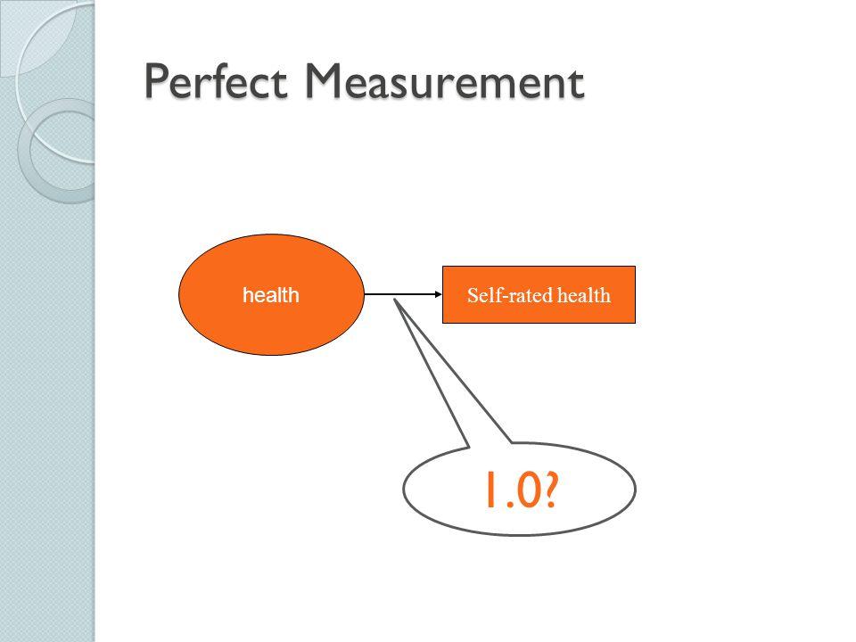 Perfect Measurement Self-rated health health 1.0?