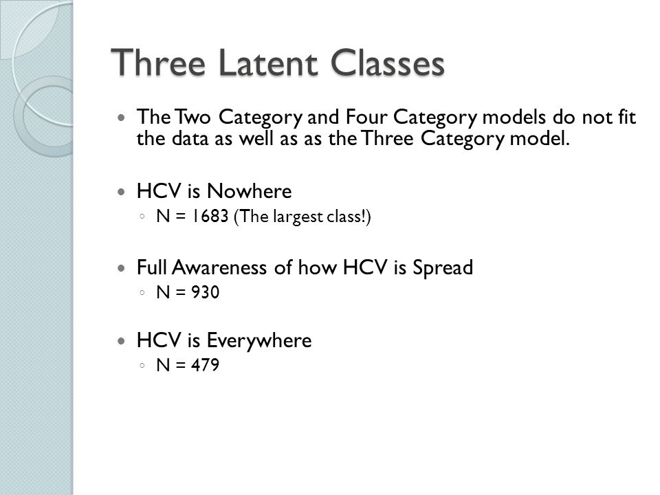 Three Latent Classes The Two Category and Four Category models do not fit the data as well as as the Three Category model. HCV is Nowhere ◦ N = 1683 (