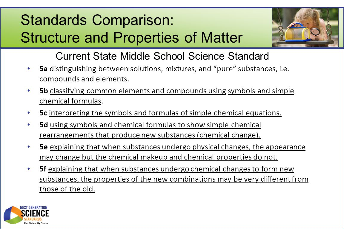 "Standards Comparison: Structure and Properties of Matter 5a distinguishing between solutions, mixtures, and ""pure"" substances, i.e. compounds and elem"