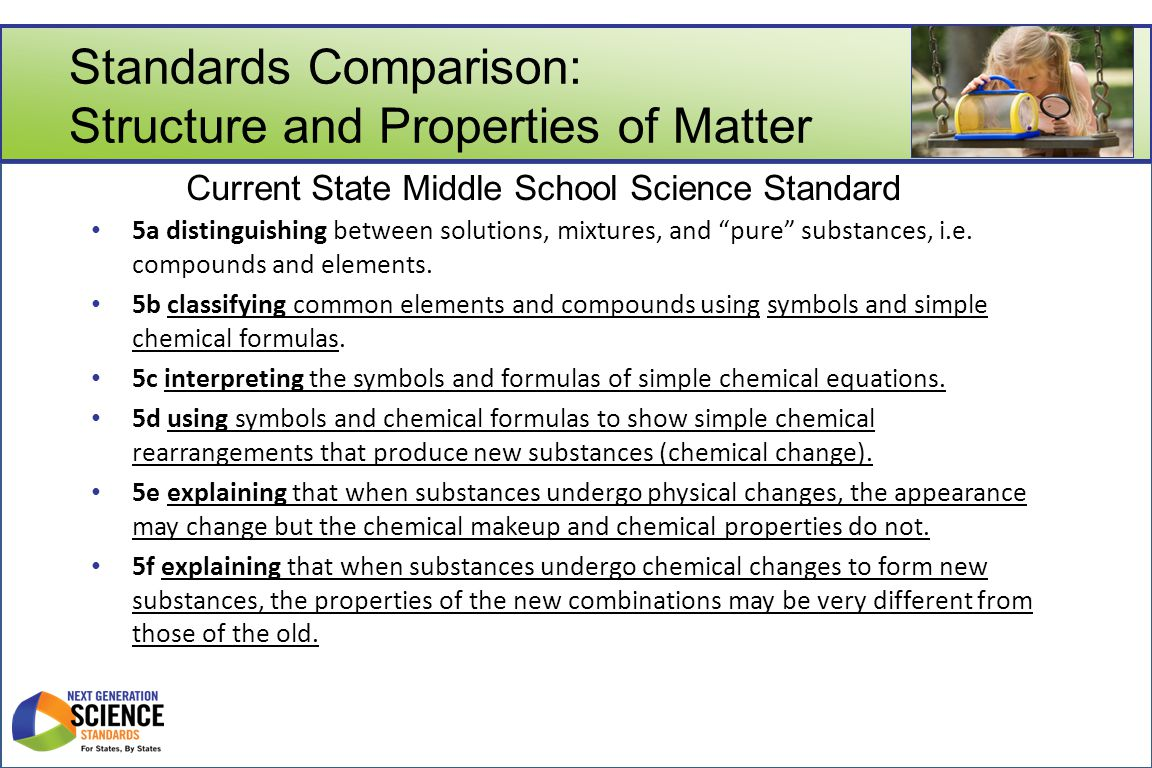 Standards Comparison: Structure and Properties of Matter a.