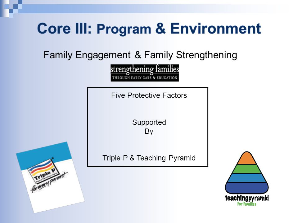 Five Protective Factors Supported By Triple P & Teaching Pyramid Family Engagement & Family Strengthening