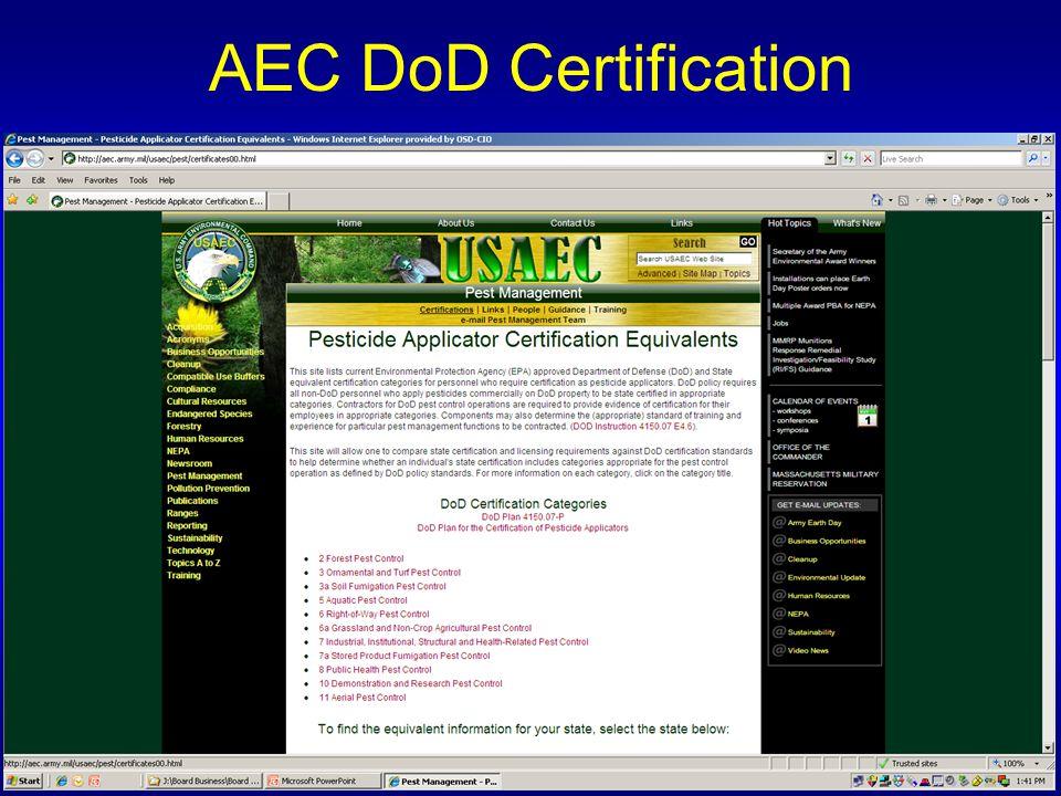 AEC DoD Certification