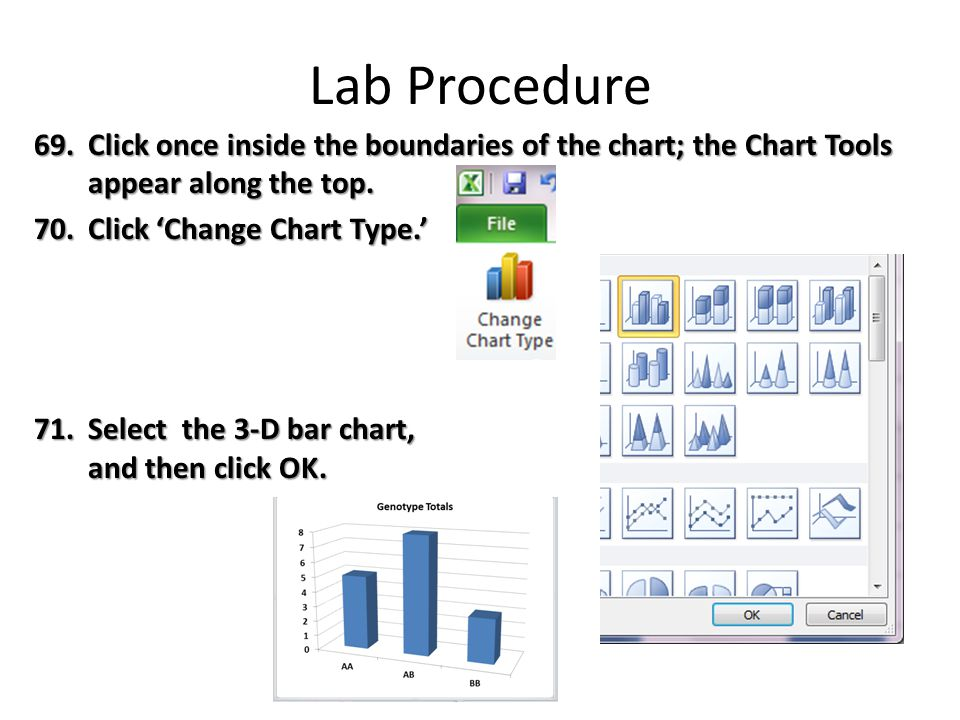 Lab Procedure 69.Click once inside the boundaries of the chart; the Chart Tools appear along the top.