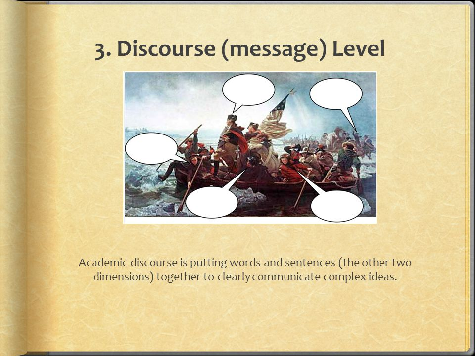 3. Discourse (message) Level Academic discourse is putting words and sentences (the other two dimensions) together to clearly communicate complex idea