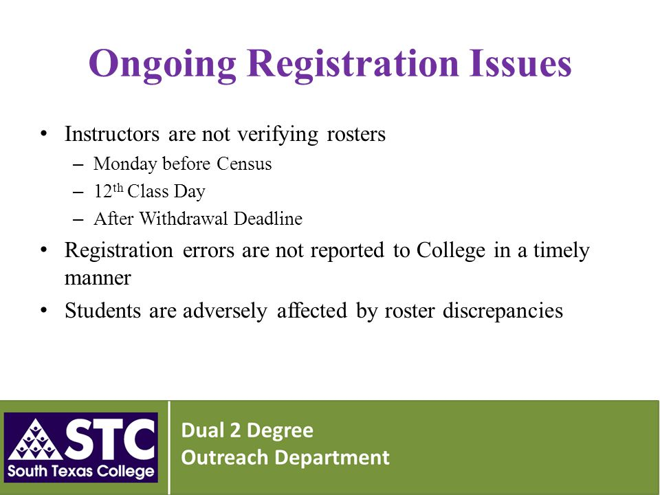 Ongoing Registration Issues Instructors are not verifying rosters – Monday before Census – 12 th Class Day – After Withdrawal Deadline Registration errors are not reported to College in a timely manner Students are adversely affected by roster discrepancies