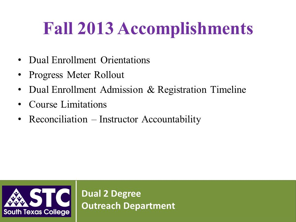 Fall 2013 Accomplishments Dual Enrollment Orientations Progress Meter Rollout Dual Enrollment Admission & Registration Timeline Course Limitations Reconciliation – Instructor Accountability