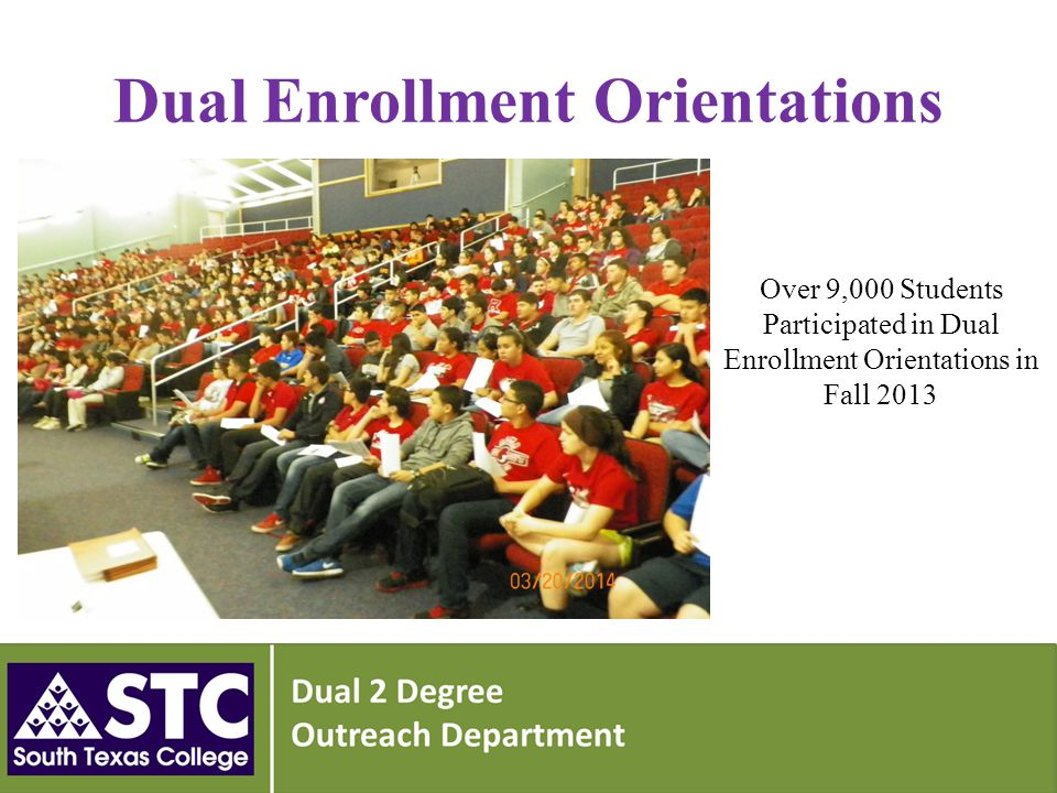 Dual Enrollment Orientations Over 9,000 Students Participated in Dual Enrollment Orientations in Fall 2013