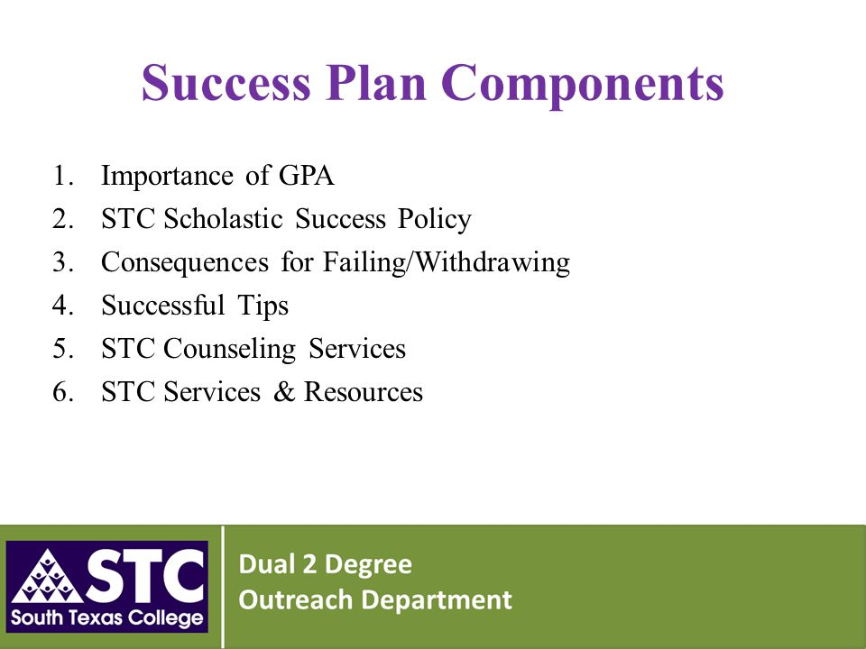 Success Plan Components 1.Importance of GPA 2.STC Scholastic Success Policy 3.Consequences for Failing/Withdrawing 4.Successful Tips 5.STC Counseling Services 6.STC Services & Resources